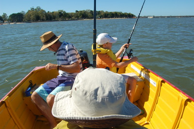 Fishing off Bribie Island