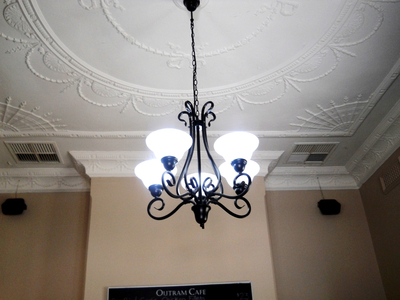Ornate ceilings add to the historic charm
