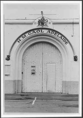 Gaol entrance 1971, courtesy State Library of South Australia B23434