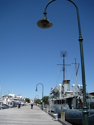 Gem Pier and the HMAS Castlemaine, today (c) JP Mundy