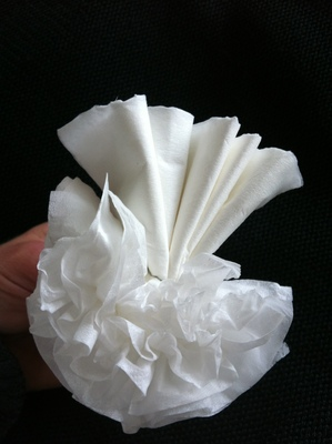 Separate each tissue to plump flower