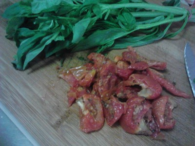 Fresh Basil Leaves and Sundried Tomatoes