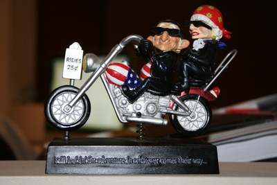 Our Coots ornament. (Motor running bobble couple)