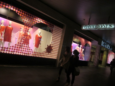 David Jones displaying their latest flowy fashions next to Myer in the Bourke Street Mall