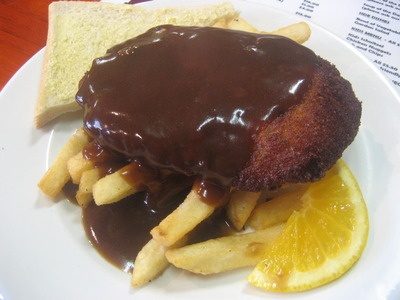 Chicken schnitzel with gravy