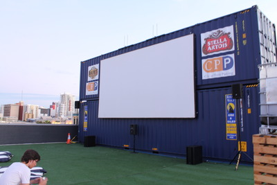 Rooftop movie screen
