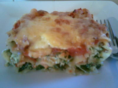 Spinach Ricotta Cannelloni with pine nuts