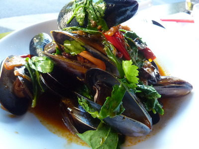 Mussels in a Shizuan Sauce with Eggplant and Warrigal Greens