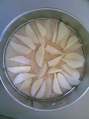 Pear and Apple slices on the cake mixture