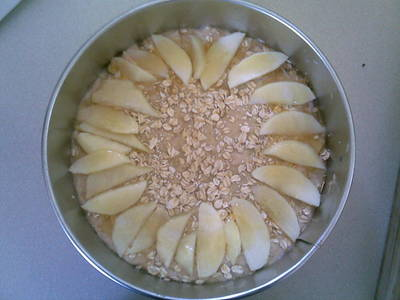 Apple and Pear crumble cake before cooked