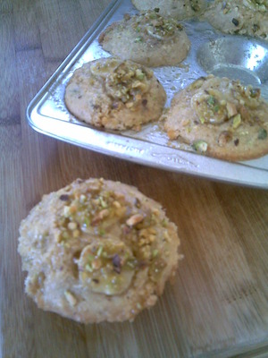 Banana and Pistachio Nut muffins straight from the oven