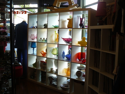 Colorful Retro Glass Display at Retro Metro