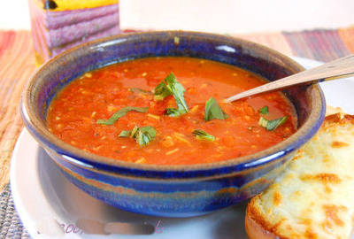 Steaming tomato soup (c) About Two