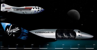 The successful Space Ship One (above), compared to Virgin Galactic's Space Ship Two the VSS Enterprise (below).
